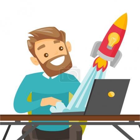 Illustration pour Homme d'affaires blanc caucasien travaillant sur un ordinateur portable et regardant la fusée. Un homme qui travaille sur une nouvelle entreprise. Concept de création d'entreprise. Illustration vectorielle de dessin animé isolé sur fond blanc . - image libre de droit