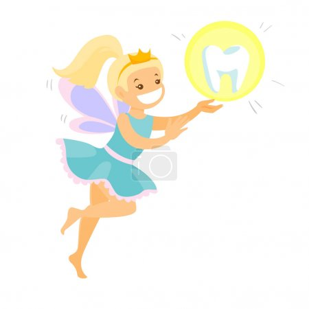 Cute blonde tooth fairy flying with a tooth.