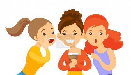 Illustration for Young caucasian white woman shielding her mouth and whispering a gossip to her friends. Three women discussing gossips. Vector cartoon illustration isolated on white background. Horizontal layout. - Royalty Free Image