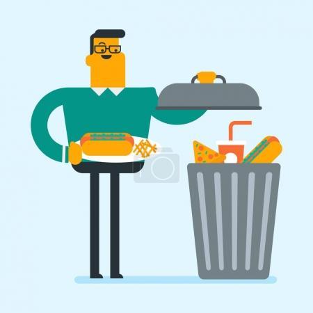 Mann wirft Junk Food in den Mülleimer.