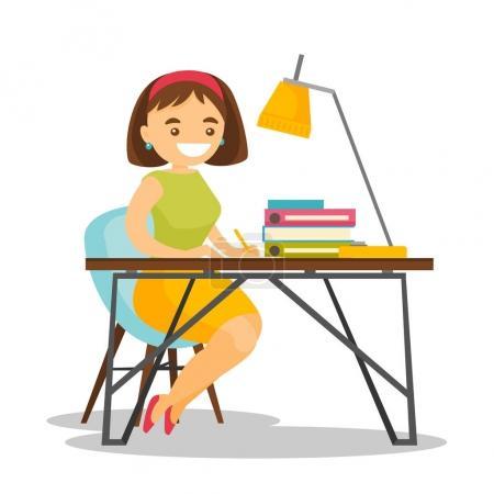 Illustration pour Jeune femme d'affaires blanche caucasienne assise au bureau et signant des documents juridiques avec un stylo au bureau. Une femme signant un contrat d'affaires. Illustration vectorielle de dessin animé isolé sur fond blanc . - image libre de droit