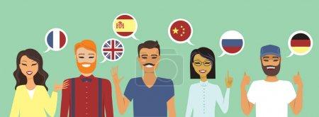 Illustration pour Personnes parlant différentes langues illustration vectorielle du concept d'éducation - image libre de droit