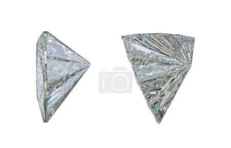 Photo pour Vues du côté des pierres précieuses ou diamant sur fond blanc. rendu 3D, illustration 3d - image libre de droit