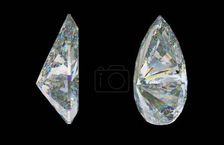 Photo pour Vues du côté des pierres précieuses ou diamant sur fond noir. rendu 3D, illustration 3d - image libre de droit