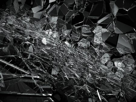Shattered or broken glass pieces