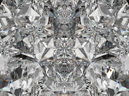 Gemstone structure extreme closeup and kaleidoscope. top view of round gemstone 3d render, 3d illustration