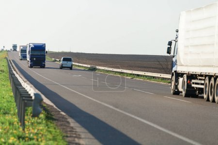 truck  driving   on a highway