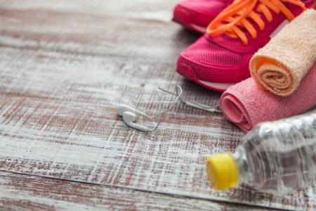 things for sport  on a wooden background
