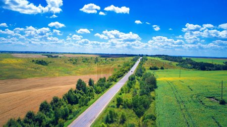 Aerial of  roads and fields.