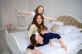 Cheerful beginning of day in a happy family.