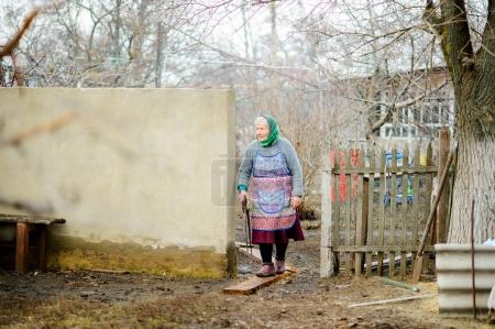 Photo for The old peasant woman thoughtfully inspects the yard. In hands at the woman of a saw. Gloomy, slushy autumn day. Against the background of naked trees. - Royalty Free Image