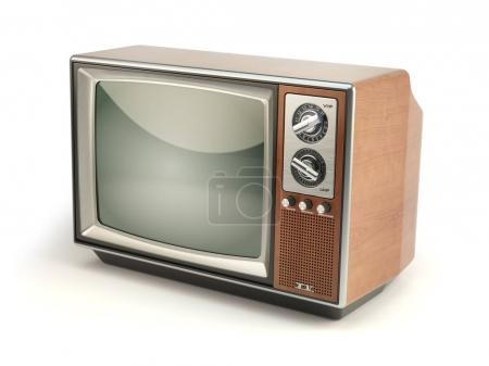 Photo for Vintage TV set isolated on white background. Communication, media and television concept. 3d illustration - Royalty Free Image