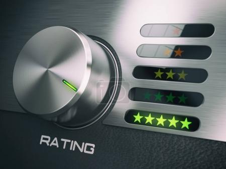 Photo pour Cinq étoiles de niveau de service de qualité, satisfaction, notion de fidélisation client. Bouton en position de highets à cinq étoiles. illustration 3D - image libre de droit