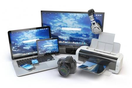 Photo for Computer devices and office equipment. Mobile phone, monitor, laptop, printer, camera, headphones and tablet pc. 3d illustration - Royalty Free Image