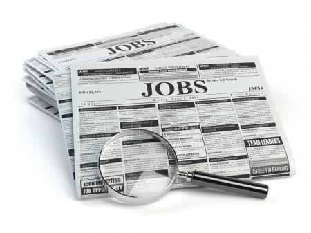 Photo pour Recherche d'emploi. Loupe avec emplois classés journaux ad isolés sur blanc. illustration 3D - image libre de droit