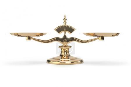 Photo pour Balance d'or écailles isolées sur fond blanc. Illustration 3d - image libre de droit