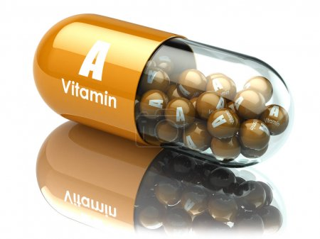 Photo for Vitamin A capsule or pill. Dietary supplements. 3d illustration - Royalty Free Image