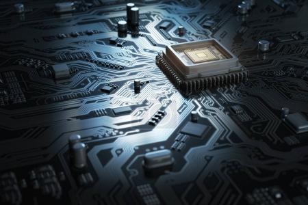 Photo pour Carte mère d'ordinateur avec CPU. Puce de circuit imprimé avec processeur central. Informatique. Illustration 3d - image libre de droit