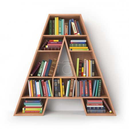 Photo for Letter A. Alphabet in the form of shelves with books isolated on white. 3d illustration - Royalty Free Image