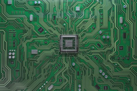 Photo for Computer motherboard with CPU. Circuit board system chip with core processor. Computer technology background. 3d illustration - Royalty Free Image