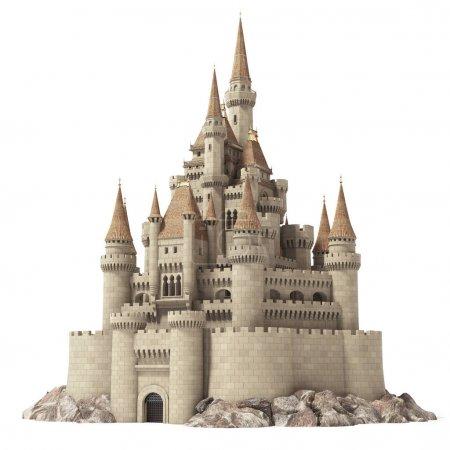 Photo pour Ancien château de conte de fées sur la colline isolé sur blanc. Illustration 3d . - image libre de droit