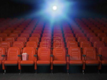 Photo pour Cinéma et film cinéma concept de fond. Lignes vides des sièges rouges avec maïs soufflé. illustration 3D - image libre de droit