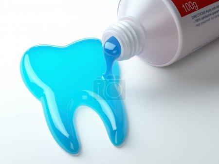 Photo pour Dentifrice en forme de dent sortant du tube de dentifrice. Brosser les dents concept dentaire. Illustration 3d - image libre de droit