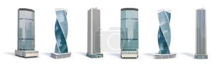 Photo for Set of different skyscraper buildings isolated on white. 3d illustration - Royalty Free Image