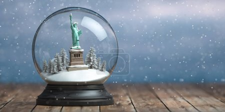 Statue of Liberty in the snow globe glass ball. Travel or trip t