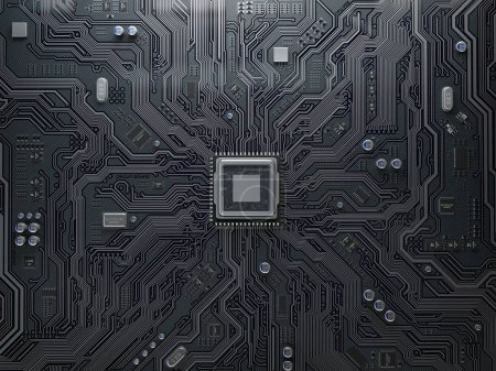 Photo for CPU chip on circuit board. Black motherboard with central processor chip. Computer hardware tecnology. 3d illustration - Royalty Free Image