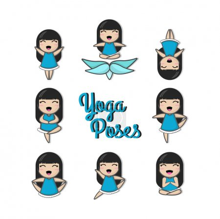 Photo for Set with beautiful woman in various poses of yoga - Royalty Free Image
