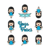 Set with woman in various poses of yoga