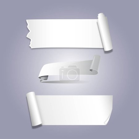 Set of realistic white paper stickers