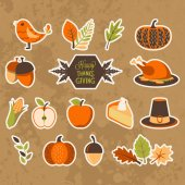 Set of design elements for autumn and Thanksgiving