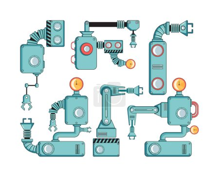 Illustration for Set Robotic arms manufacture technology industry assembly mechanic flat decorative icons set isolated vector illustration - Royalty Free Image
