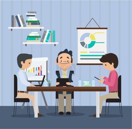 Teamwork in an office behind a Desk