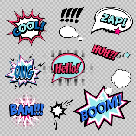 Collection of nine comic sound Effects
