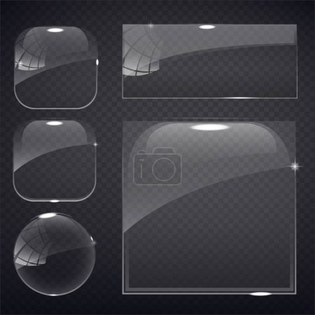 Illustration for Set of transparent glass on sample background. Glass framework set. Glass square, rectangular and round buttons on checkered background. Vector illustration. - Royalty Free Image