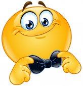 Emoticon correcting or straightening his bowtie