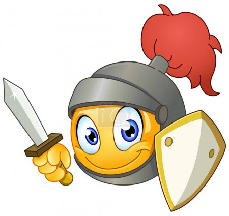 Illustration for Knight emoticon holding a sword and shield - Royalty Free Image