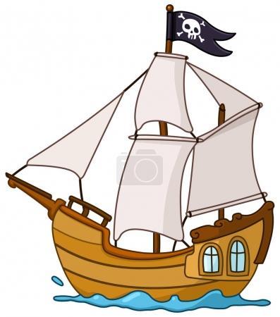 Illustration pour Vecteur bateau pirate dessin animé - image libre de droit