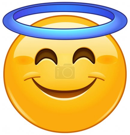Illustration for Smiling face with angel halo emoji emoticon - Royalty Free Image