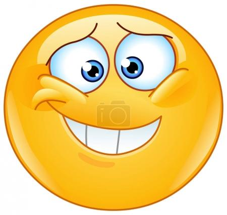 Illustration for Embarrassed emoticon with insecure smile - Royalty Free Image