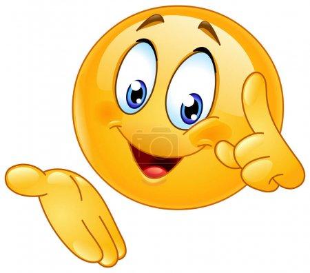 Illustration pour Heureux émoticône pointant doigt vers le haut et présenter - image libre de droit