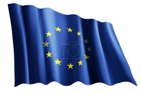 Photo pour Drapeau de l'Union européenne isolé sur blanc - image libre de droit