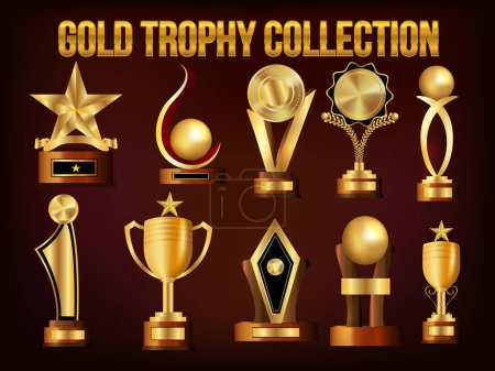 Illustration for Set of Golden Trophy Cups and Awards, Vector Collection. - Royalty Free Image