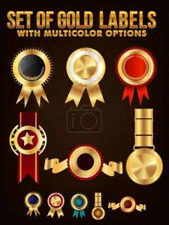 Ilustración de Conjunto de etiquetas de oro, insignias o medallas con opciones Multicolor. - Imagen libre de derechos