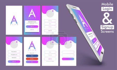 Illustration for Mobile Login and Sign Up Screens, Material Design, UI, UX and GUI template layout with smartphone presentation. - Royalty Free Image