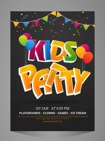 Illustration for Kids Party Flyer, Banner, Invitation or Pamphlet with colorful balloons and bunting decoration. - Royalty Free Image