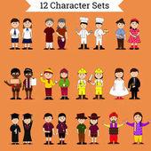Set of twelve different creative cartoon characters